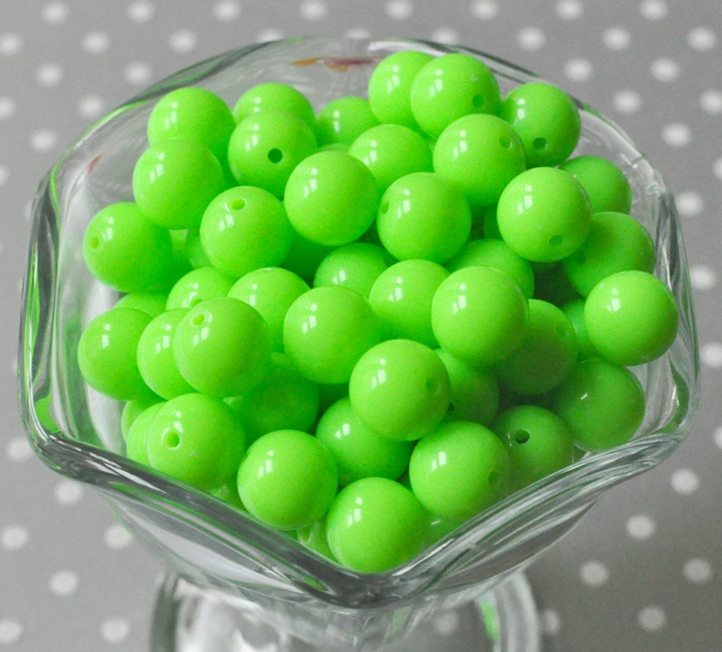 12mm Neon green acrylic plastic gumball beads wholesale