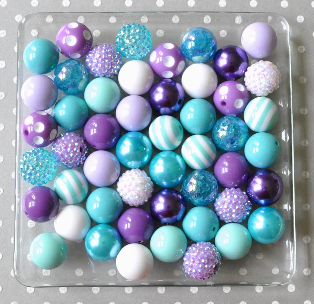 Aqua, turquoise, and purple bubblegum bead wholesale kit