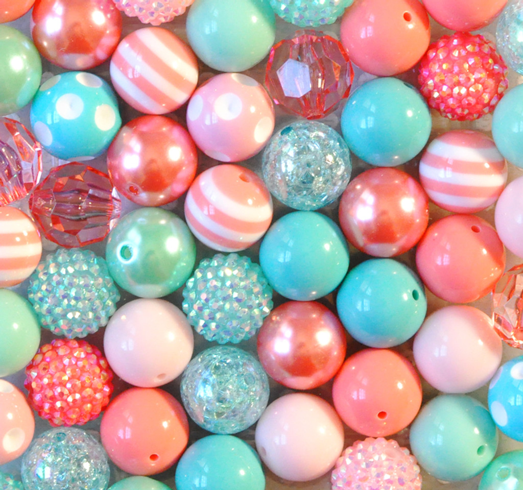 Coral and Aqua Summer Splash bubble gum bead wholesale kit