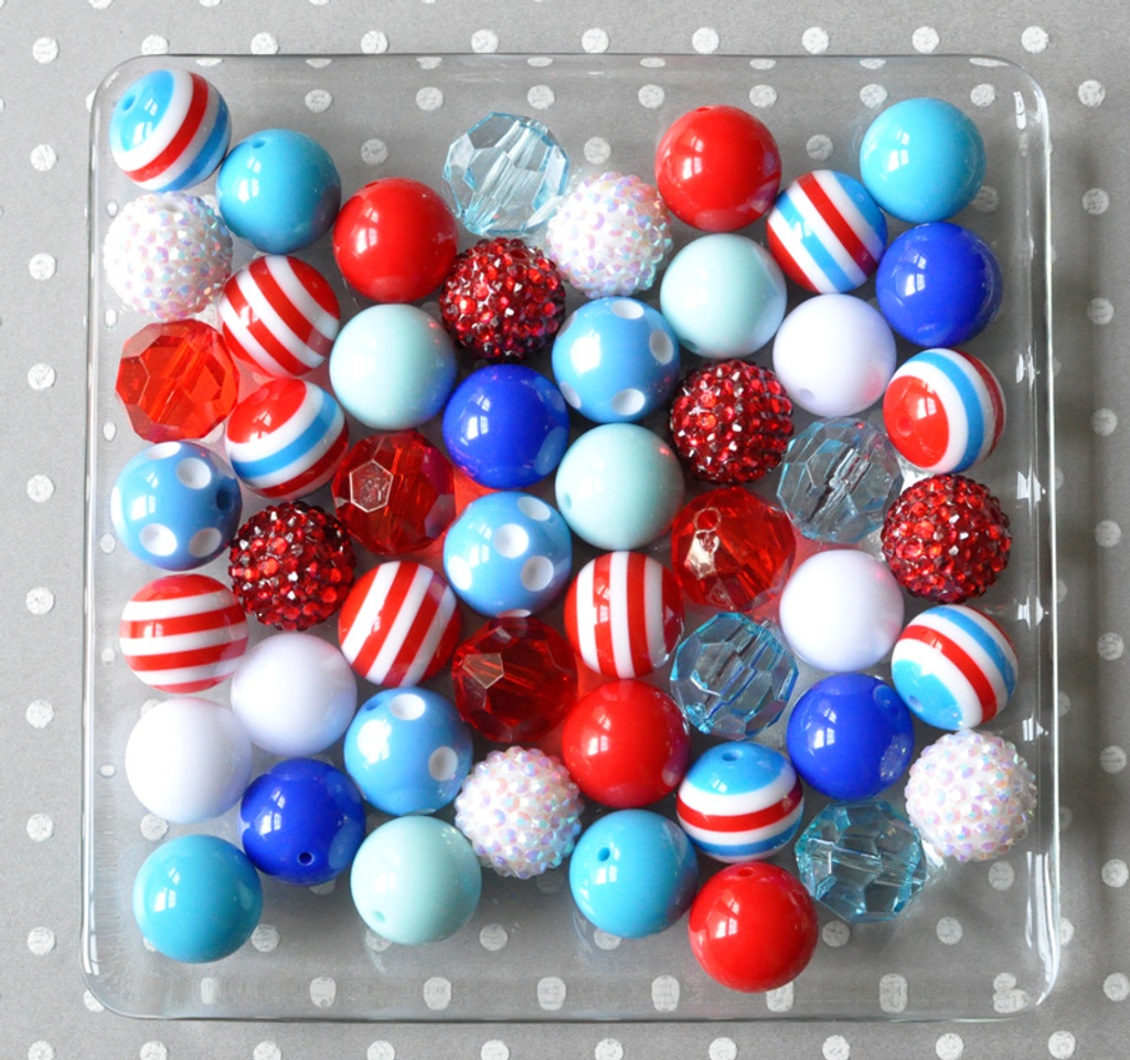 Nautical Fun blue, red, and white bubblegum bead wholesale kit
