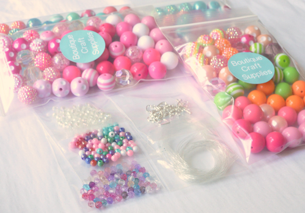 10 necklace chunky bead party kit for girls DIY jewelry making birthday