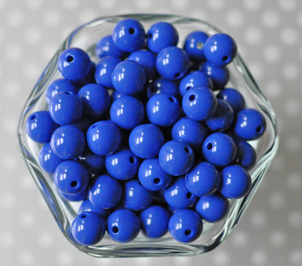 12mm Royal blue solid bubblegum beads