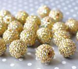 20mm Bright gold AB rhinestone bubblegum beads