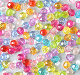 6mm Round faceted multi-color acrylic beads