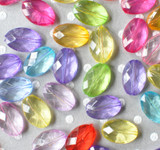 19mm faceted oval  multi-color acrylic beads
