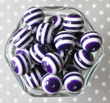 Deep purple and white striped bubblegum beads