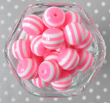 20mm Neon pink and white striped bubblegum beads for chunky style necklaces