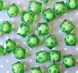 20mm Green ice cube faceted acrylic beads