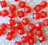 20mm Red ice cube faceted acrylic beads