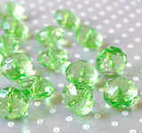 22mm Green clear faceted rondelle acrylic beads