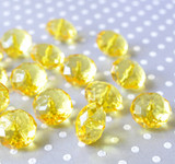 22mm Yellow clear faceted rondelle acrylic beads