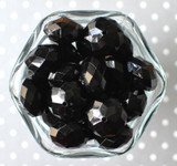 22mm Black opaque faceted rondelle acrylic beads