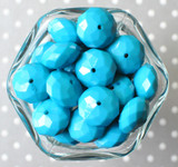 22mm Turquoise opaque faceted rondelle acrylic beads