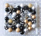 Black Tie black gold silver bubblegum bead wholesale kit