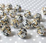 20mm Black, silver, gold confetti rhinestone bubblegum beads