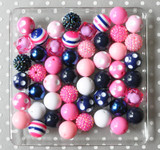 20mm Hot pink and Navy bubblegum bead wholesale kit