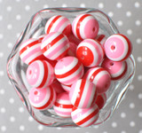 Red and pink Valentine's Day striped bubblegum beads
