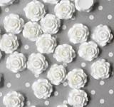 20mm White rose resin flatback flowers