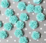 20mm Aqua rose resin flatback flowers