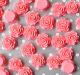 20mm Coral rose resin flatback flowers