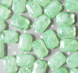 30mm Key lime marble swirl emerald cut rectangle acrylic beads