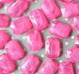 30mm Shocking pink marble swirl emerald cut rectangle acrylic beads