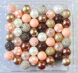Peach, brown, and gold bubblegum bead wholesale kit