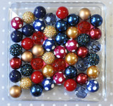 Navy, cranberry, and gold bubblegum bead wholesale kit for chunky necklaces