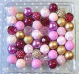 Mauvelous mauve and gold bubblegum bead wholesale kit for chunky necklaces