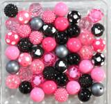 Hot pink and black bubblegum bead wholesale kit