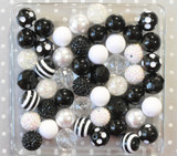 Black and white chunky bubblegum bead variety mix