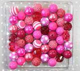 Fuchsia chunky bubblegum bead variety mix