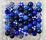Navy and royal blue chunky bubblegum bead variety mix