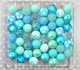 Aqua and turquoise chunky bubblegum bead variety mix