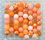 Orange chunky bubblegum bead variety mix