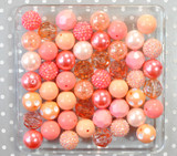 Coral and peach chunky bubblegum bead variety mix