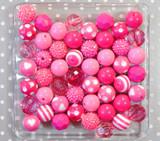 Hot pink chunky bubblegum bead variety mix