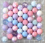 Pastel Dream pink, lavender, blue, and white bubblegum bead wholesale kit.