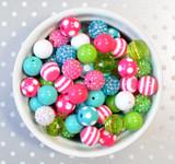 16mm Color Pop pink, turquoise, lime  bubblegum bead mix