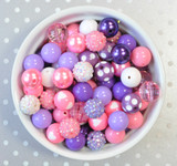 16mm Pink and Purple Love  bubblegum bead mix