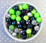 16mm Seahawks Navy and Lime green bubblegum bead mix