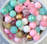 16mm Pink, Aqua, and Gold acrylic plastic bubble gum bead mix for kids
