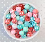 16mm Summer Splash coral and aqua  bubblegum bead mix