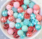 16mm Summer Splash coral and aqua acrylic plastic bubble gum bead mix for kids