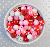 16mm Valentine's Day Red and Pink bubblegum bead mix