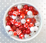 16mm Valentine's Day Red and White bubblegum bead mix