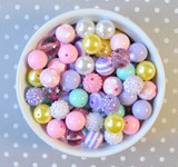 16mm Easter pastel bubblegum bead mix