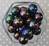 20mm Black solid AB bubblegum beads