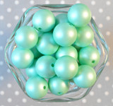 20mm Mint green matte pearl bubblegum beads