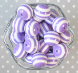 20mm Orchid and white striped bubblegum beads